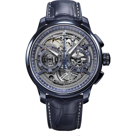 Maurice Lacroix Masterpiece Chronograph Skeleton 45mm Watch | Blue/Blue Leather MP6028-PVC01-002-1