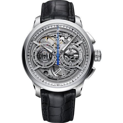Maurice Lacroix Masterpiece Chronograph Skeleton 45mm Watch | Grey/Black Leather MP6028-SS001-001-1