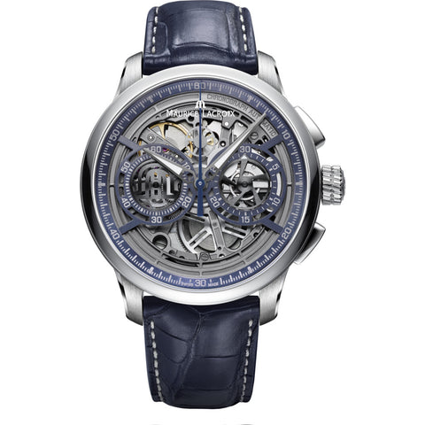 Maurice Lacroix Masterpiece Chronograph Skeleton 45mm Watch | Grey/Blue Leather MP6028-SS001-002-1