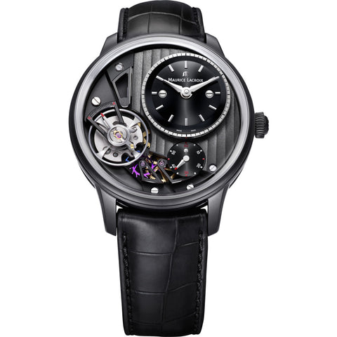 Maurice Lacroix Masterpiece Gravity 43mm Watch | Black/Black Leather MP6118-PVB01-330-1