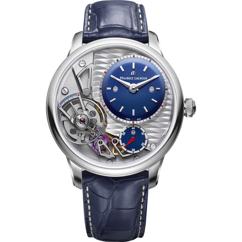 Maurice Lacroix Masterpiece Gravity 43mm Watch | Grey/Blue Leather MP6118-SS001-434-1