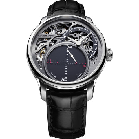 Maurice Lacroix Masterpiece Mysterious Seconds 43mm Watch | Grey/Black Leather MP6558-SS001-095-1