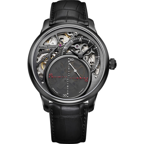 Maurice Lacroix Masterpiece Mysterious Seconds 43mm Watch | Black/Black Leather MP6558-PVB01-092-1
