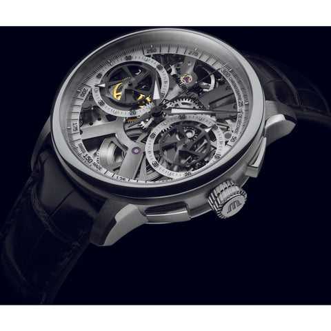 Maurice Lacroix Masterpiece Squelette Chronograph 45mm Watch | Silver/Black MP7128-SS001-100