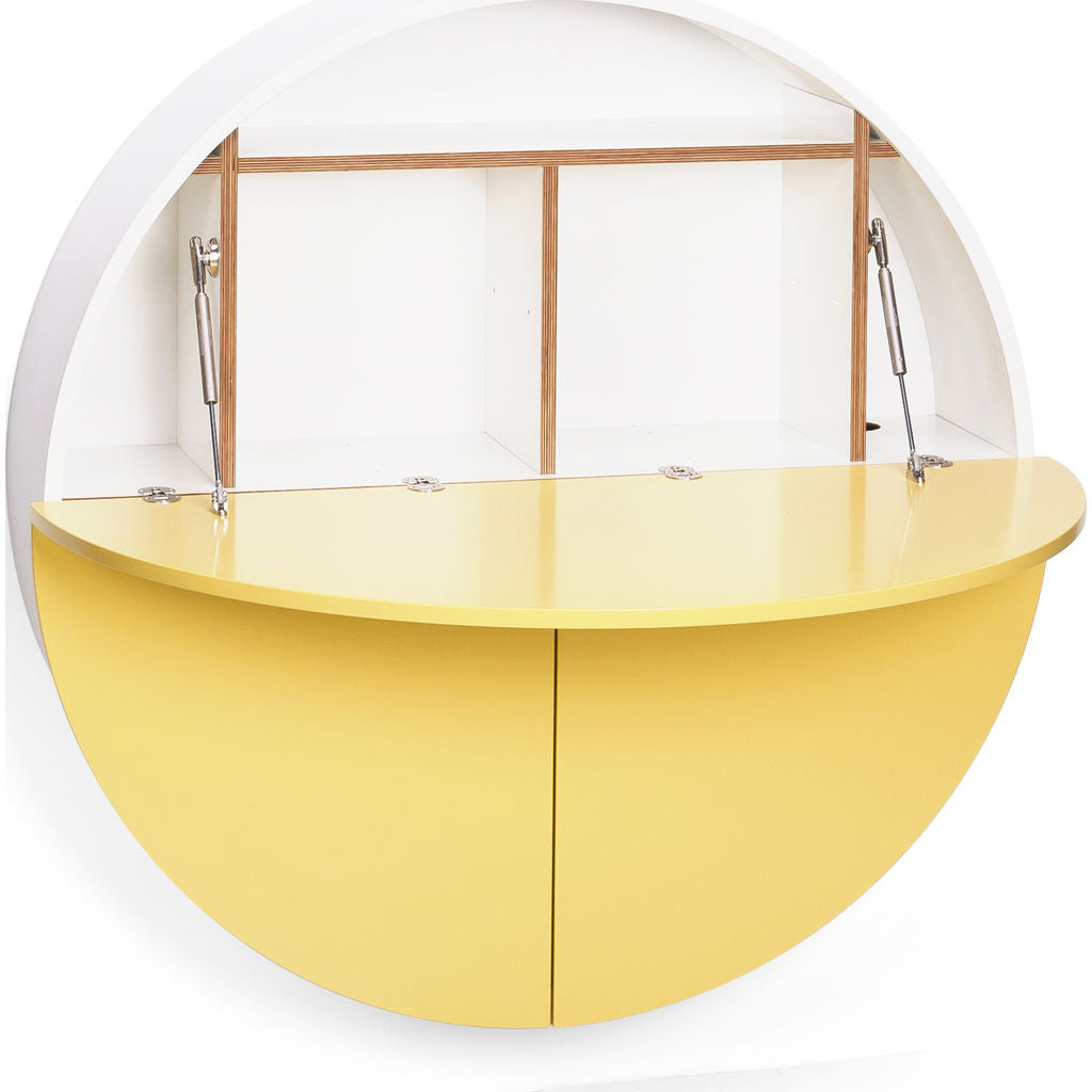 EMKO Multifunctional Pill Cabinet/Desk | White/Yellow