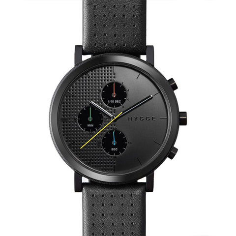 Hygge 2204 Black Chronograph Watch | Leather
