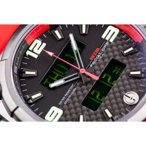 MTM Special Ops Airstryk II Watch | Black Titanium/Carbon Red/Red Rubber