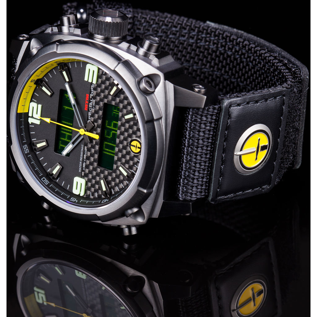 mtm special ops airstryk ii watch black titanium carbon yellow