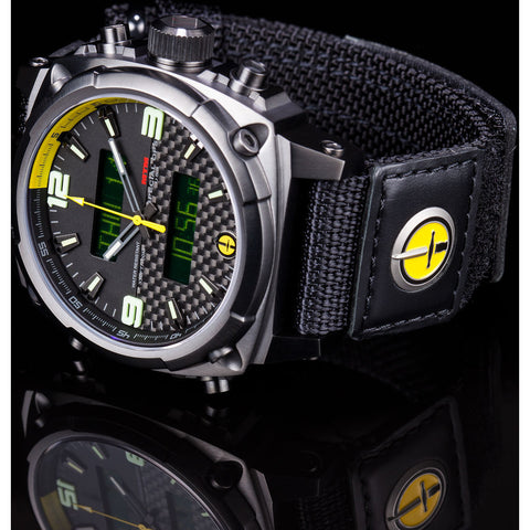 MTM Special Ops Airstryk II Watch | Black Titanium/Carbon Yellow/Ballistic Velcro II