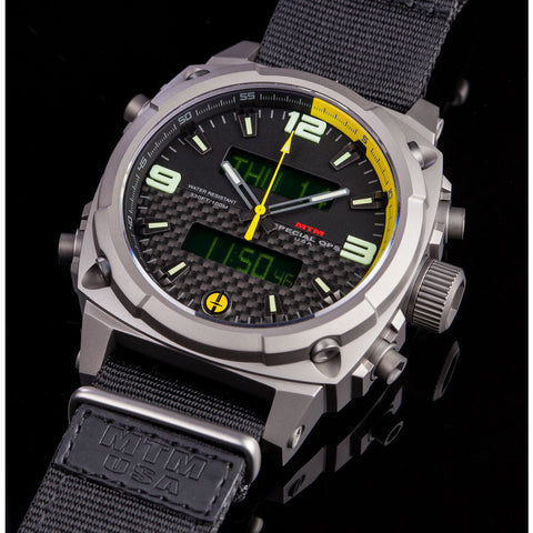 MTM Special Ops Airstryk II Watch | Gray Titanium/Carbon Yellow/Nylon Black