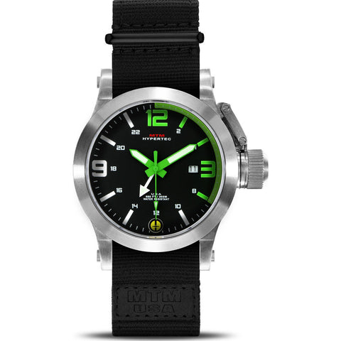 MTM Special Ops Hypertec 44 Watch | Silver/Green/Black Nylon