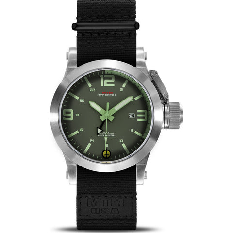 MTM Special Ops Hypertec 49 Watch | Silver/Green-Lumi/Black Nylon