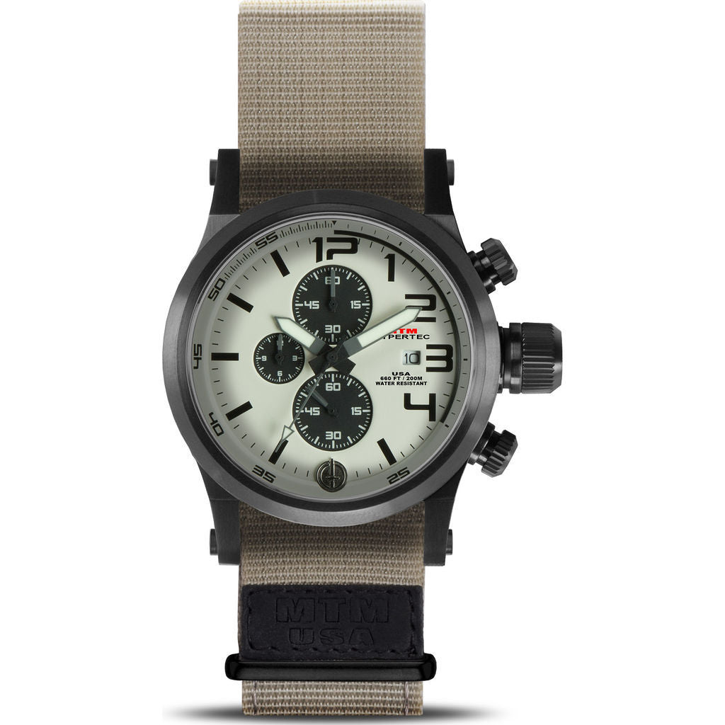 Mtm special ops hypertec chronograph watch black tan tan nylon sportique for Black tan watch