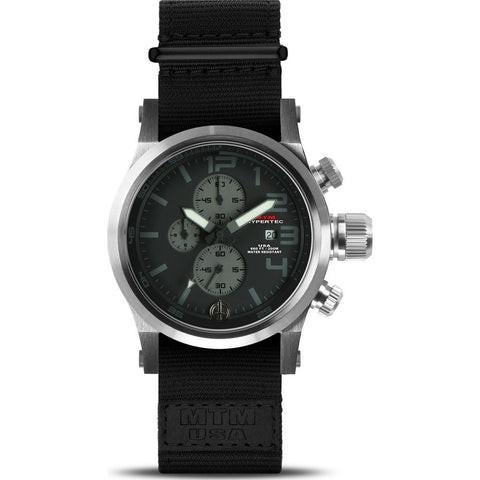 MTM Special Ops Hypertec Chronograph Watch | Silver/Black-Gray/Black Nylon