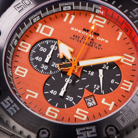 MTM Special Ops Patriot Watch | Black Steel/Orange/Black Rubber II