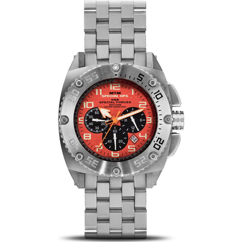 MTM Special Ops Patriot Watch | Silver Titanium/Orange