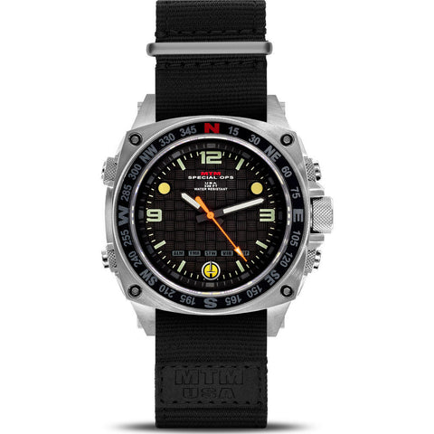 MTM Special Ops Silencer Watch | Silver Steel/Nylon Black