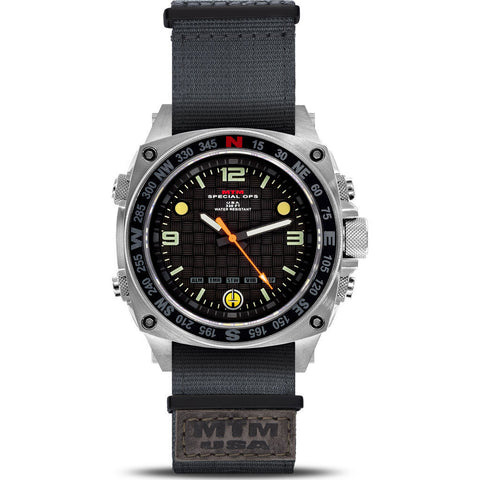 MTM Special Ops Silencer Watch | Silver Steel/Nylon Gray