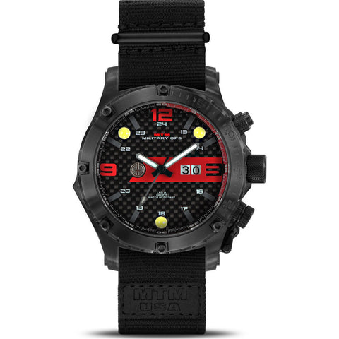 MTM Special Ops Vulture Watch | Black Titanium/Red/Black Nylon