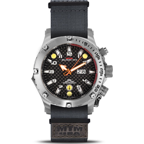 MTM Special Ops Vulture Watch | Silver Titanium/Black/Gray Nylon