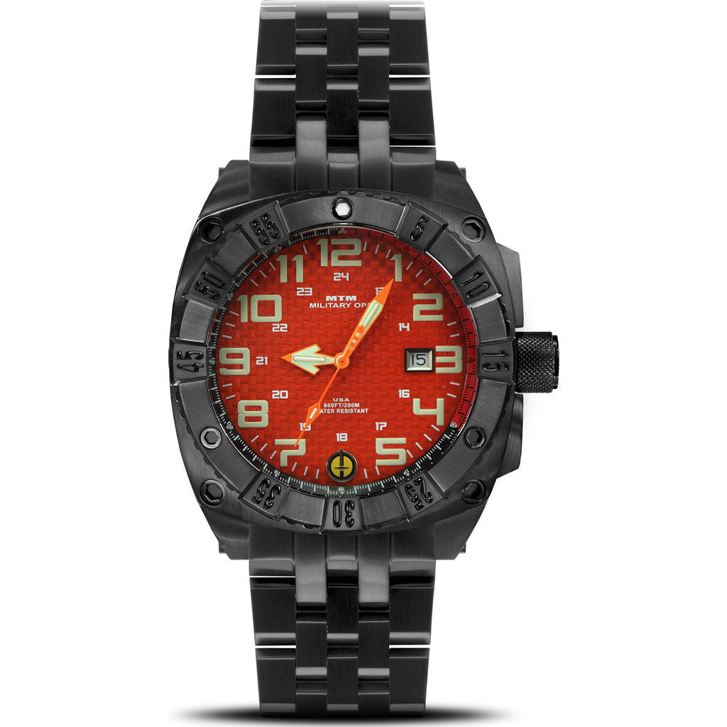 MTM Special Ops Warrior Watch | Black Steel/Orange