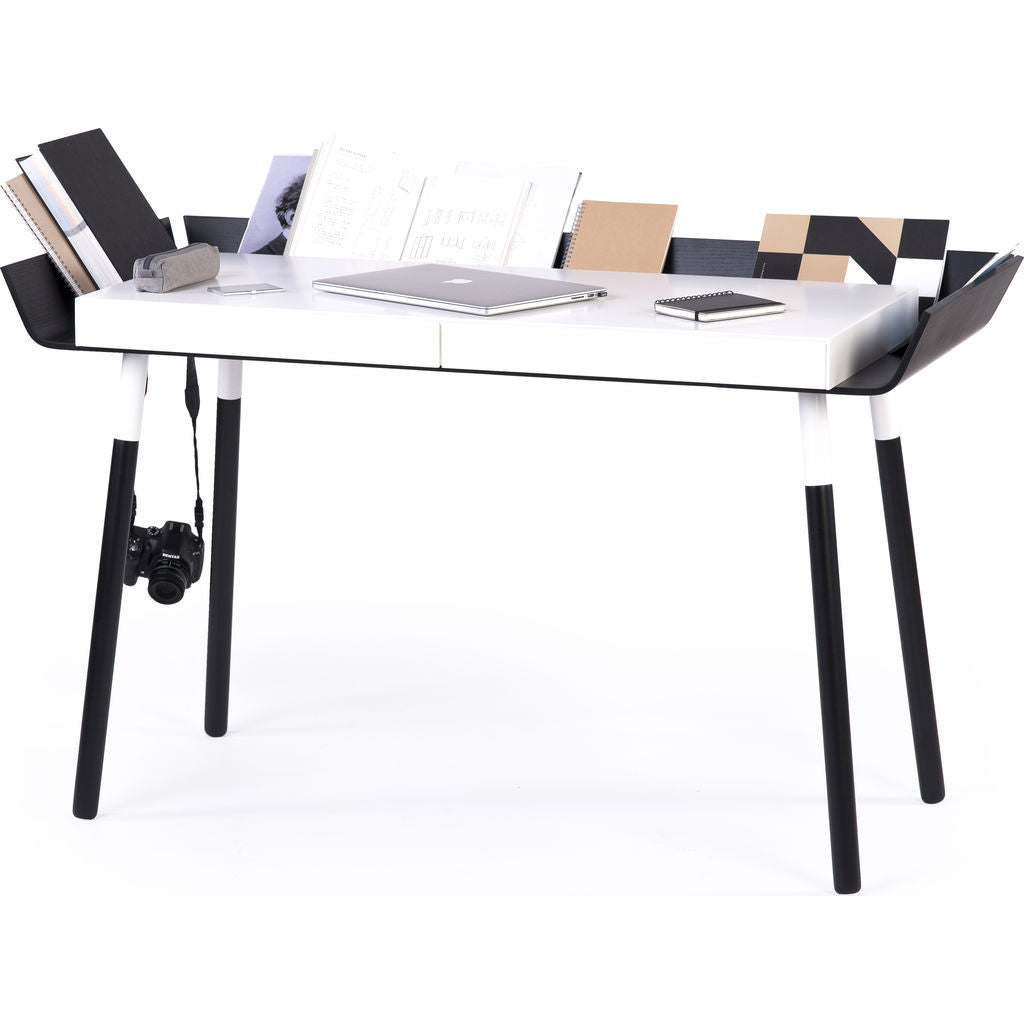 EMKO My Writing Desk w/ 2 Drawers | White/Black