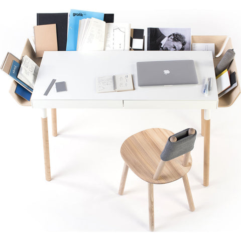 EMKO My Writing Desk w/ 2 Drawers | White/Birch