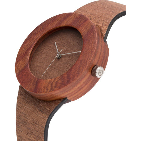 Analog Carpenter Makore & Red Sanders Wood Watch | No Markings