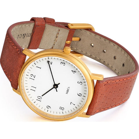 Projects Watches M&Co Bodoni Brass Watch | White 7401BR-BR