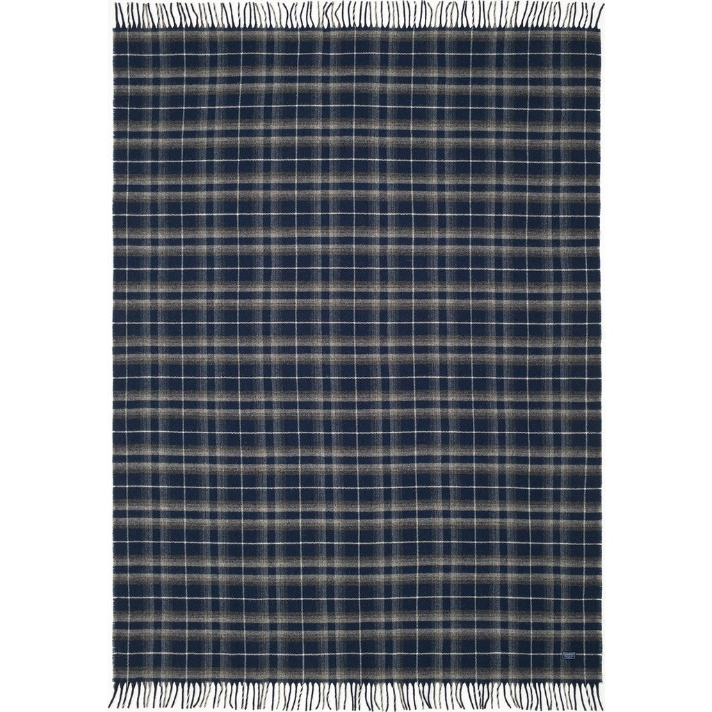 Faribault Macalester Plaid Wool Throw | Ink Blue 16637 50x72