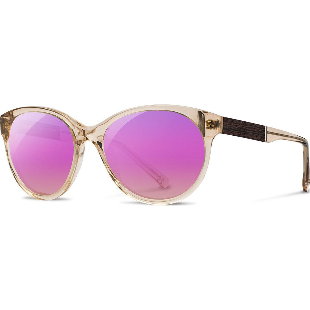 ... Shwood Madison Acetate Sunglasses | Champagne/Ebony - Rose Flash  Polarized WWAMCEBR3P ...