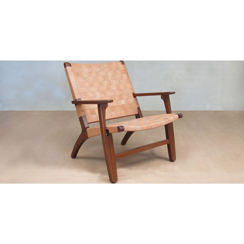 Masaya & Company Abuelo Lounge Chair Royal Mahogany/Charcoal Gray Manila Woven Seat