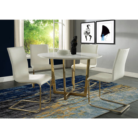 TOV Furniture Maxim White Dining Chair Set of 2 | White, Gold- TOV-G5464