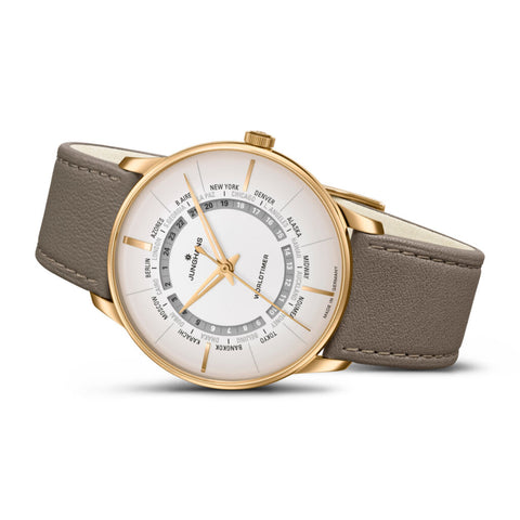 Junghans Meister Worldtimer Watch | Brown Leather 027/5012.02