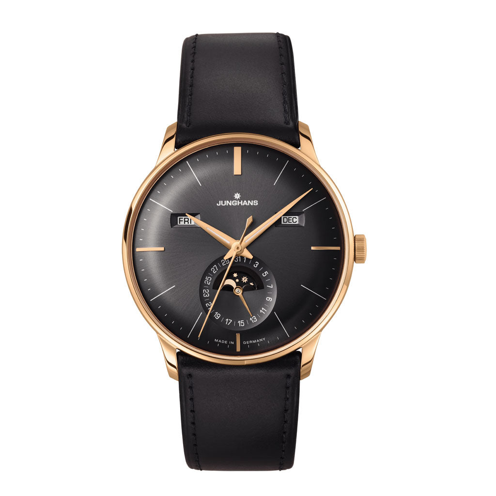 Junghans Meister Kalender Automatic Watch | Black Leather Strap 027/7504.01
