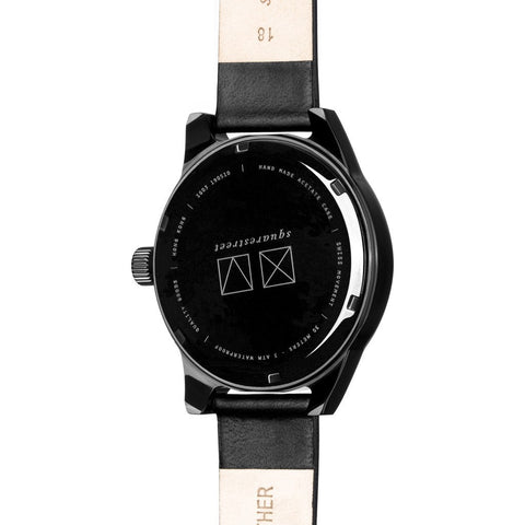 squarestreet SQ03 Minuteman Two Hand Embossed Black Watch | Black/Black Leather SQ03 B-09