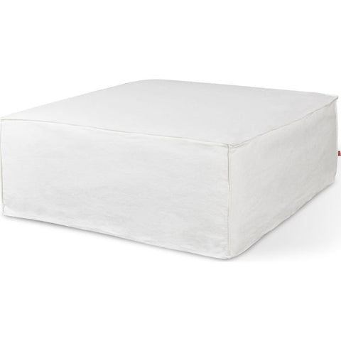 Gus* Modern Mix Ottoman Slipcover | Washed Denim White ECSSMXOT-denwhi