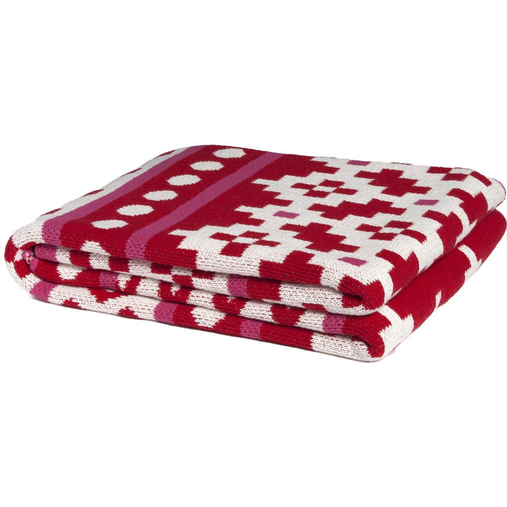in2green Mosaics Eco Throw | Cherry/Fuchsia BL01MA24