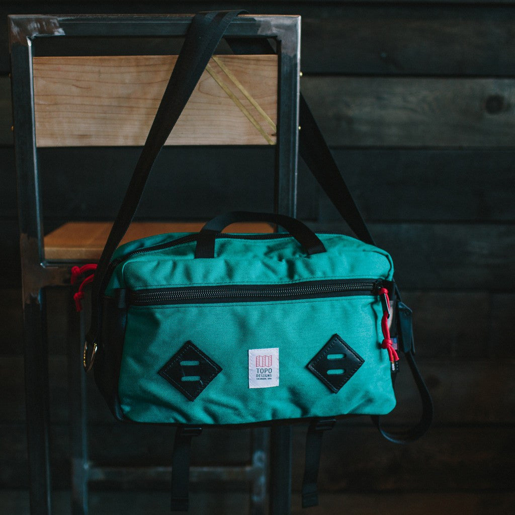 Topo Designs Mini Mountain Bag | Turquoise/Black Leather