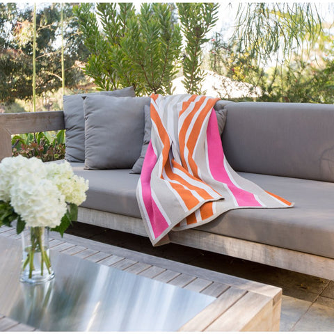 in2green Stacy Garcia Poly Cabana Stripes Throw | - Orange/Camel/Pink SG-POLY-BS3