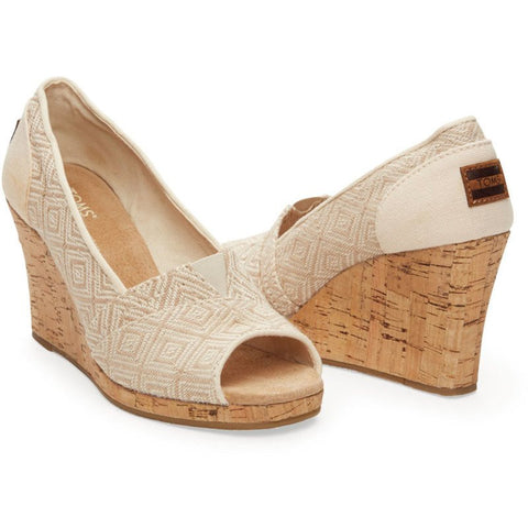TOMS Classic Wedges | Natural Woven Diamond