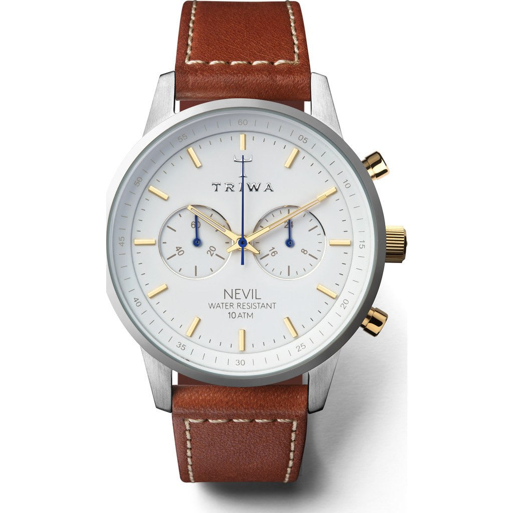 Triwa Snow Nevil Watch | Brown Sewn Classic NEST115SC010215