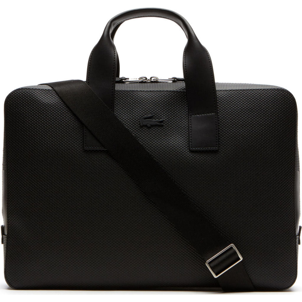 Lacoste Chantaco Matte Pique Leather Computer Bag in Black - Sportique 03c6a9a8e88bd