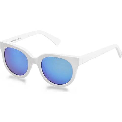 Northern Lights NL14 White Matte Sunglasses | Blue Mirror
