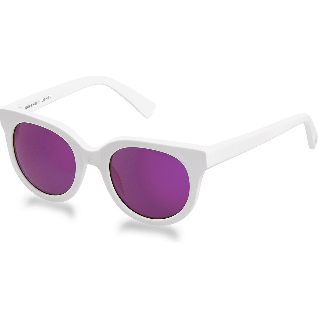 Northern Lights NL14 White Matte Sunglasses | Pink Mirror