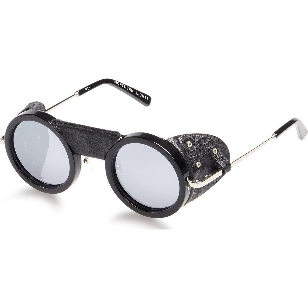Northern Lights NL7 Gloss Black Sunglasses | Silver Mirror
