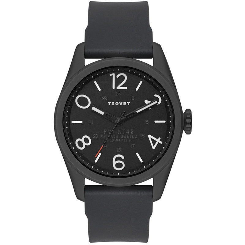 Tsovet JPT-NT42 Black & Matte Black Watch | Black Rubber NT331040-45