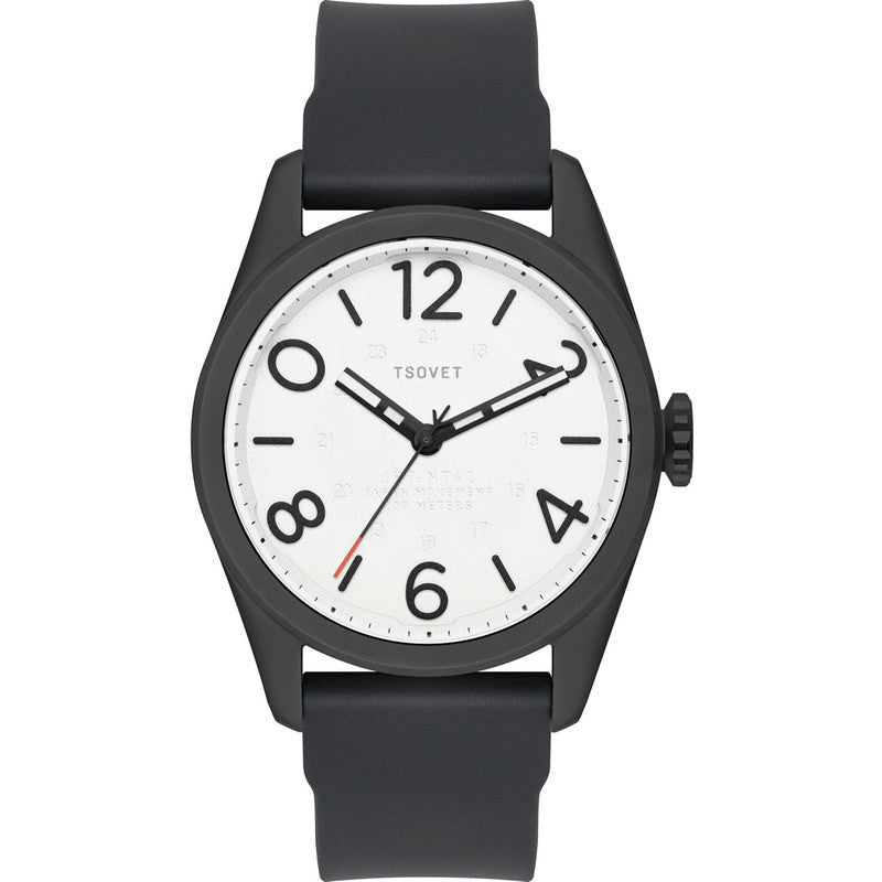 Tsovet JPT-NT42 Japan Quartz Matte Black & White Watch | Black Rubber