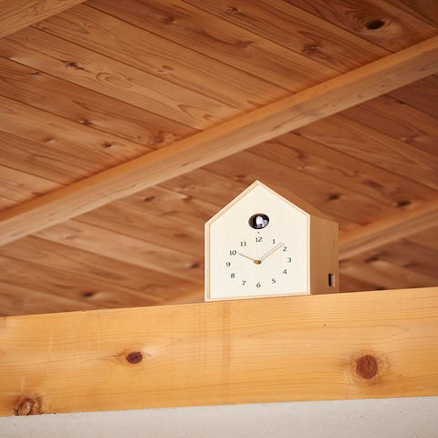 lemnos birdhouse clock natural