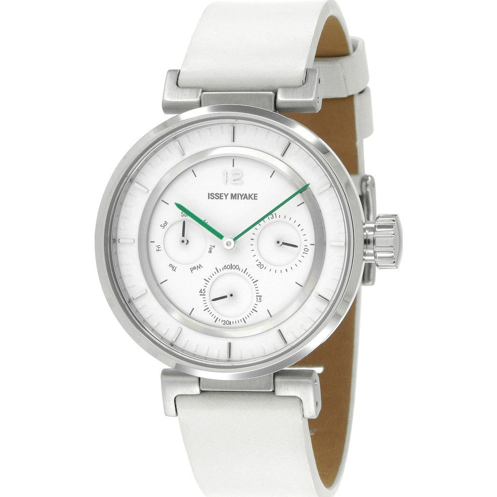 Issey Miyake W-Mini White Watch | White Leather Nyab001Y